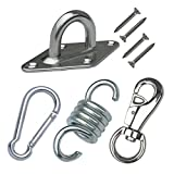 Hammock Chair Hanging Kit Heavy Duty Hardware 500 LB Capacity Spring, Swivel Hook and Ultimate Ceiling Hanger Mount with 4 Screws