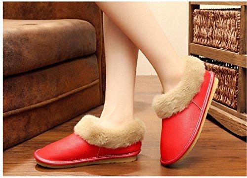 TELLW Frauen Herren winterlichen Baumwoll Pantoffeln Damen Leder Indoor Winter Warm Schuhe Rot