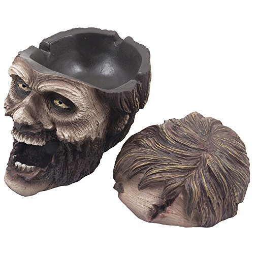 Evil Undead Zombie Head Ashtray Statue with Cover for Spooky Graveyard Halloween Party Decorations and Decorative Medieval & Gothic Decor Sculptures As Whimsical Novelty Gifts by Home-n-Gifts by Home 'n Gifts