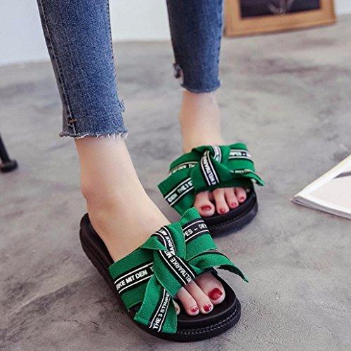 Pantofole Da Donna Sandali Infradito Sandali Estivi Cunei Sandali Bowknot Verde