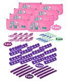 Spa Party Favors 48 Piece Set for Girls mani and pedi (8 Mini Emery Boards, 16 Toe Separators, 8 Brushes, and 8 6-way Nail Buffer)
