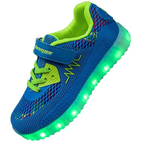 Shinmax Zapatillas LED Nueva LED Zapatos de Deporte de Zapatillas con Luces Niños de 7 Colores LED con CE Certificado Malla Azul Claro
