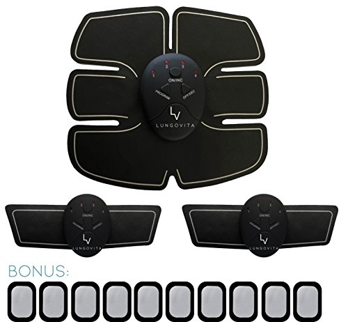 LungoVita Abs Stimulator and Muscle Toner - Ultimate EMS Stimulation+1 Wireless Abdominal Belt+2 Arm/Leg Pads+10 Replacement Gel Pads - Electronic and Portable - Toning and Weight Loss for Men & Women