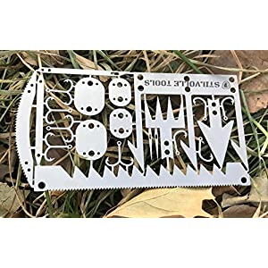Survival card tool hook size that contains the 12 features to help survival card 12 Survival time to card size, hook small, arrowhead A, arrowhead B, STILVOLLE TOOLS (Silver)