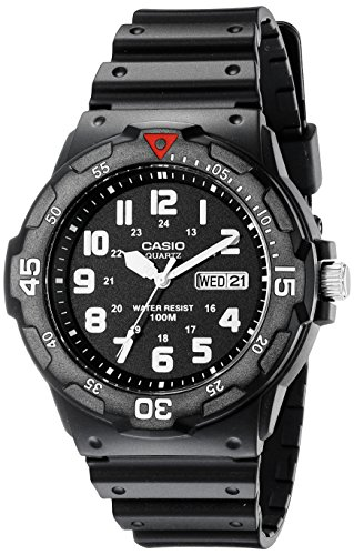 Casio Men's MRW200H-1BV Black Resin Dive Watch (Band Bezel Wrist Watch)