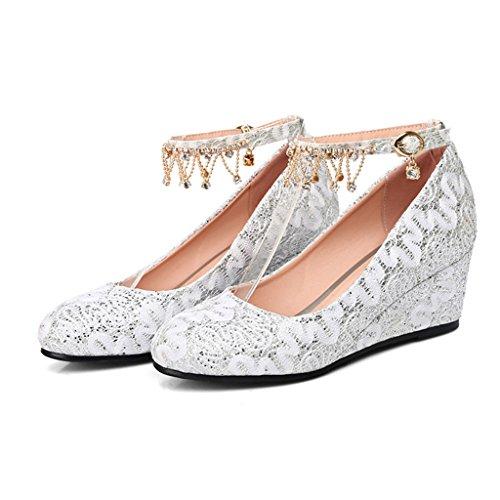 ALUK- Chaussures pour femmes / déduction de mot / bouche peu profonde / chaussures simples / wedge / mariage chaussures de mariage / chaussures d'entrevue ( Couleur : Silver , taille : 39-Shoes long24 Silver