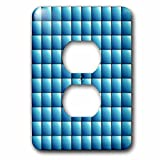 3dRose Russ Billington Patterns - Large Mosaic Tiles Pattern in Blue - Light Switch Covers - 2 plug outlet cover (lsp_261918_6)
