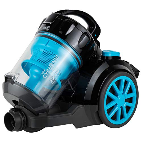 BLACK+DECKER VM2080 2000-Watts Cyclonic Canister Vacuum Cleaner, 220V (Not for USA – European Cord), Medium, Blue and Black