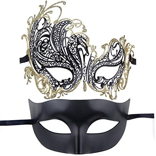 [Couples Pair Half Venetian Masquerade Ball Mask Set Party Costume Accessory (gold&black)] (Couple Masquerade Masks)