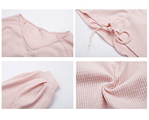 Camicetta Top Abbigliamento Magliette T Adelina Ragazza Sleeve Primavera Tinta V Scollo Allacciatura Pink1 Unita Donna Lantern Crop Eleganti Shirt ZTq5fqw