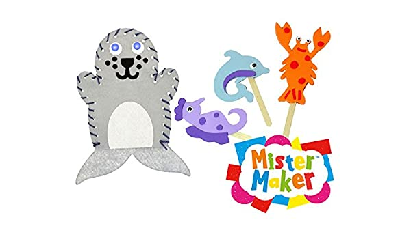 Pack of 4 Perfect for Kids to Make and Perform Puppet Show Baker Ross Pond Life Hand Puppet Sewing Kits