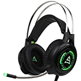 [2017 Newly Updated USB Gaming Headphone] SUPSOO G815 Gaming headset Computer Over Ear Stereo Gaming Headsets With Mic Noise Isolating Volume Control LED Light For PC & MAC (Black /Green )