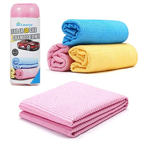 6 Packs Car Wash Chamois Towel【Upgraded version】Premium Synthetic Shammy Towel【Come with storage tube】 Learja Faster Drying No Lint No Streak (Pink, 17 x 13 inches)