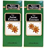 Spice Supreme Flavorings: Pure Anise Extract (Pack of 2) 2 oz Size
