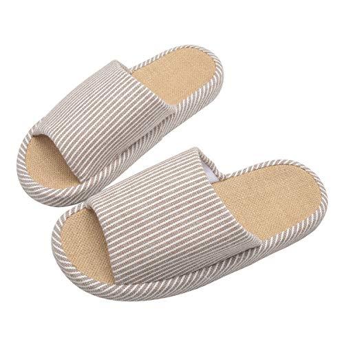 WMZYIQI Slippers for Women Soft Open Toe Anti-Slip Indoor Outdoor Stripe Linen Casual Home Shoes (US 7.5-8.5/Men, Brown) ()