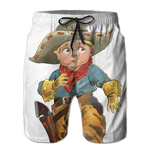 - DSWAA Little Baby Cowboy Pattern/Men Classic Fit Quick-Drying Board Shorts