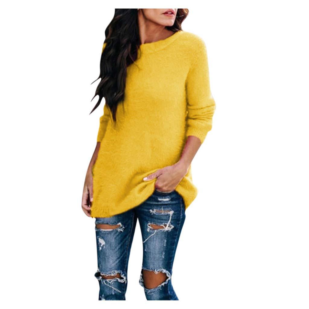 GIVEKI Maglione Donna Taglie Forti Sciolto Camicia con Peluche Invernali Elegante Fit Pullover Girocollo Felpa Tumblr Manica Lunga Casual Sweatshirt Morbido Caldo Leggero Sweater Top