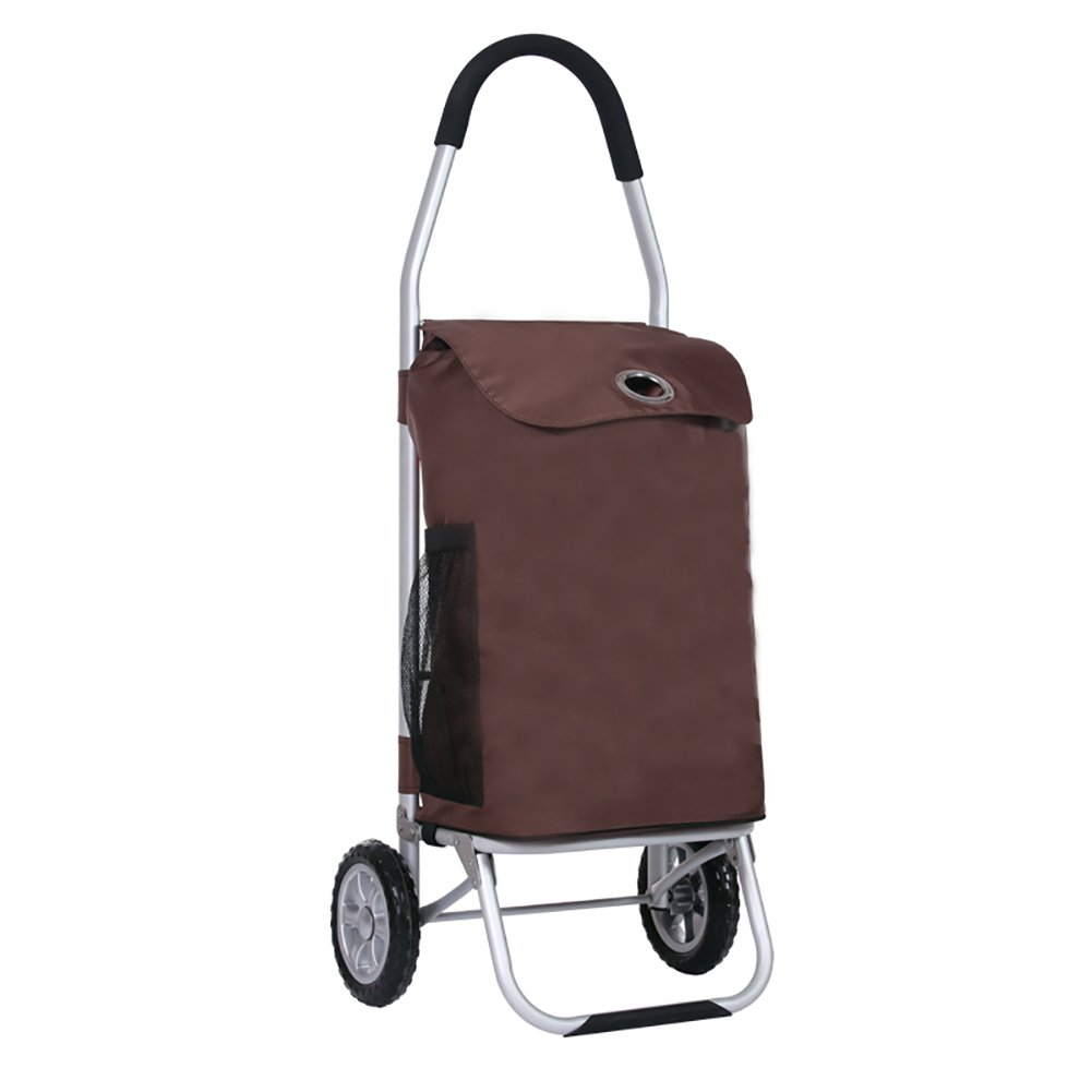 アルミニウム合金便利なショッピングカート、家庭用の小型折りたたみ荷物トレーラー、階段を登ることができます、強く、着用可能、多色を選択することができます (色 : Brown) B07FL7FGM9 Brown Brown