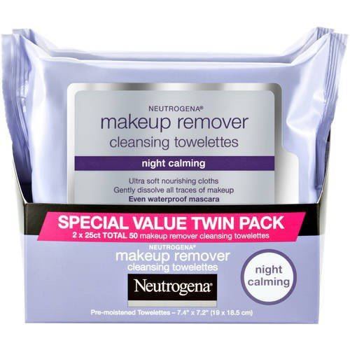 Neutrogena Makeup Remover Night Calming Cleansing Towelettes, Disposable Nighttime Face Wipes to Remove Dirt, Oil & Makeup, 25 ct 2 Pk ()
