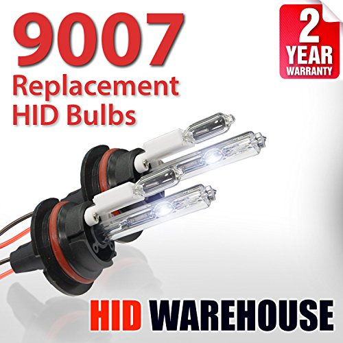 HID-Warehouse AC HID Xenon Replacement Bulbs - 9007 5000K - Bright White (1 Pair) - 2 Year ()