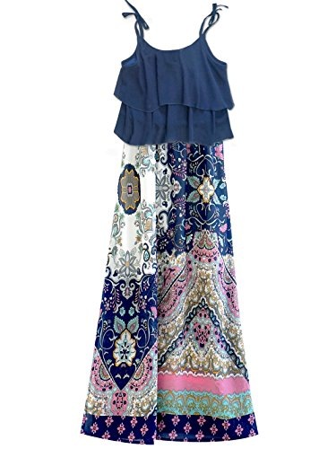 Truly Me, Girls Maxi Dresses (Many Options), 4-6X, 7-16 (16, Navy Multi)