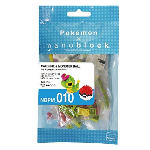 nanoblocks Nbpm010 Nb-Caterpie and Poke Ball - Pokem Building Kit