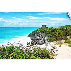 Wall Peel entitled Tulum Ruins along Caribbean Coastline IV. Photograph the Tulum ruins along the Caribbean coastline Mexico. From the Viva Mexico Collection. Multiple sizes available. Primary colors within this image include Yellow Dark Yell...
