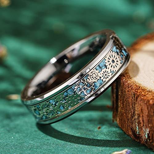 THREE KEYS JEWELRY 6mm 8mm Steampunk Gear Wheel Blue Carbon Fiber Black Tungsten Wedding Ring