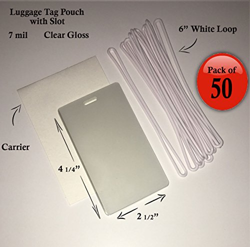 "QTY: 50 - 7 mil Luggage Tag Laminating Pouch w/ slot Vertical 2 1/2"" x 4 1/4"" with 6"" Plastic Loop (White)"