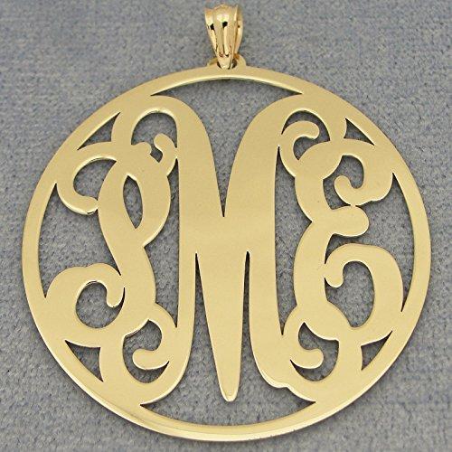 Solid 10k or 14k Gold 3 Initials Circle Monogram Pendant 1 1/2 inch Diameter GM44 ()