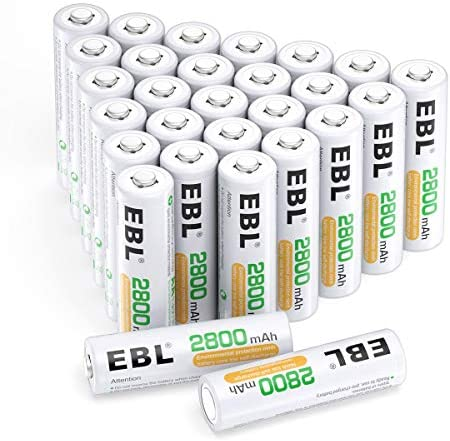 EBL AA Batteries 2800mAh High Capacity Precharged Ni-MH AA Rechargeable Batteries - Pack of 28