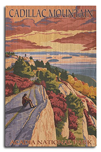 Lantern Press Acadia National Park, Maine - Cadillac Mountain (10x15 Wood Wall Sign, Wall Decor Ready to Hang)