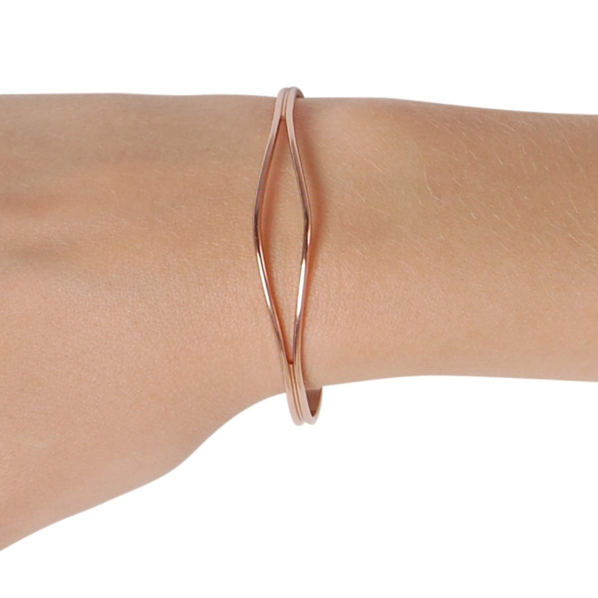 b49ad859e Amazon.com: Humble Chic Open Cuff Bracelet for Women - Hypoallergenic  Adjustable Double Skinny Bar Narrow Wire Infinity Bangle, 18K Rose -  SM/MED, ...