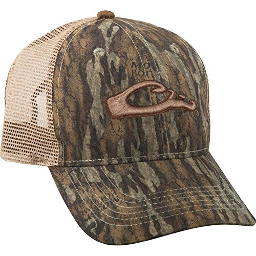 Drake Men's Mesh Back 6-Panel Camo Logo Cap Cotton Mossy Oak Bottomland Camo