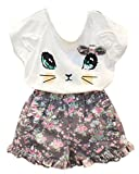 BomDeals Adorable Cute Toddler Baby Girl Clothing 2pcs Outfits (Age(5T), Cat/Short Pants)