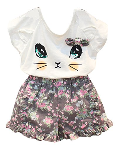 BomDeals Adorable Cute Toddler Baby Girl Clothing 2pcs Outfits (Age(3T), Cat/Short Pants)