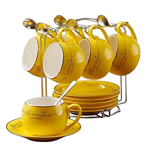 NDHT Set of 6 Bone China Teacups/Coffee Cups & Saucers Sets with Spoons-6.7Oz, for Home, Restaurants, Display for Family or Friends,Yellow,with a bracket(6 -
