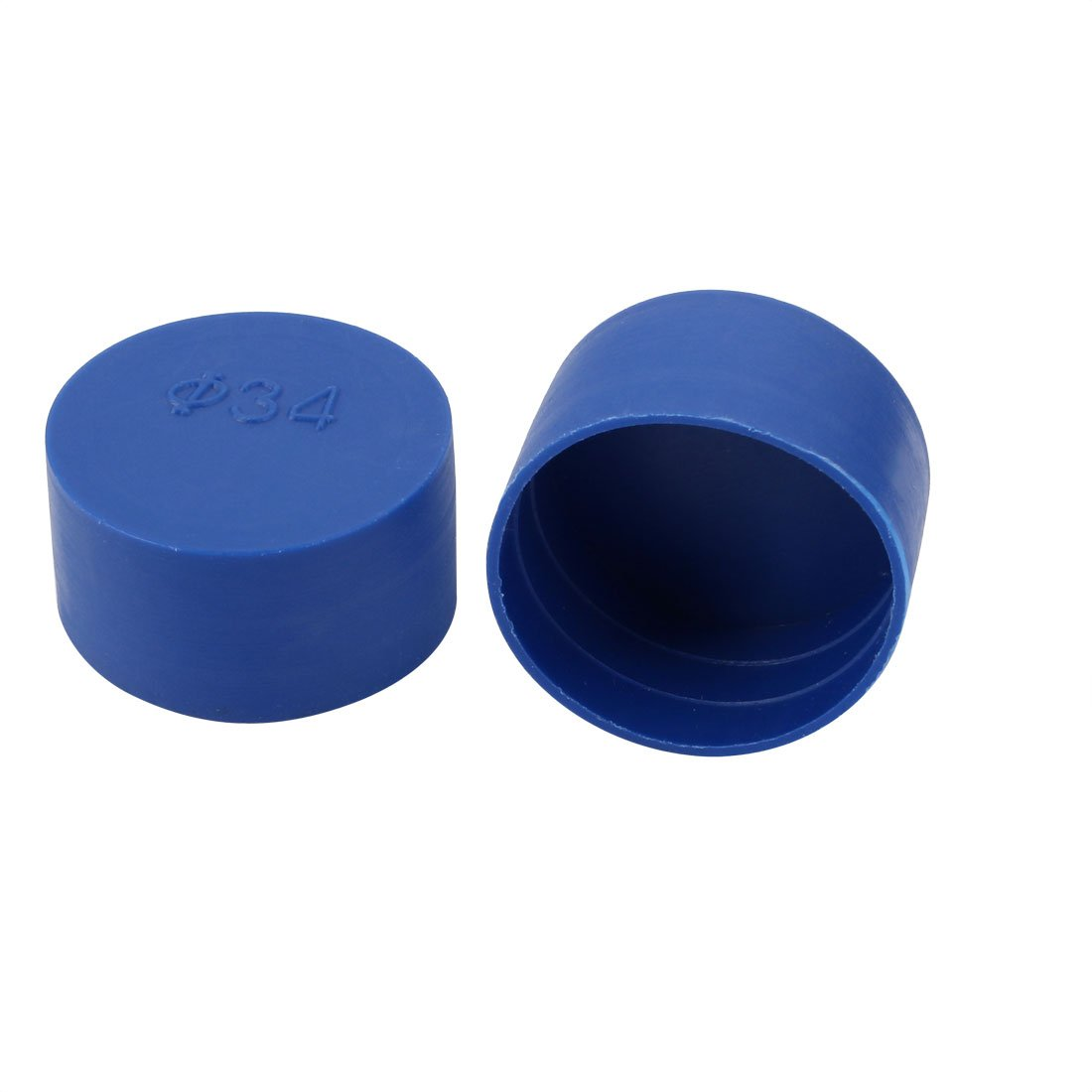 uxcell 2pcs 34mm Inner Dia PE Plastic End Cap Bolt Thread Protector Tube Cover Blue