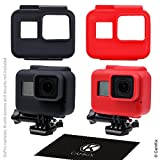 CamKix Silicone Sleeve Cases compatible with The Frame Gopro Hero 7 6 5-2 Protective Covers - Black Red - Protection for GoPro Camera inside The Frame - Against Dust - Scratches and Light Shocks