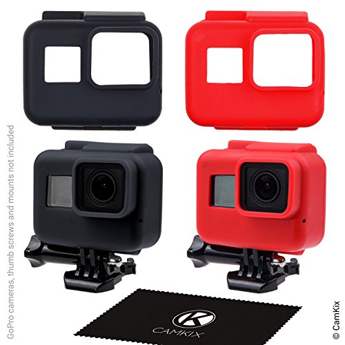 CamKix Silicone Sleeve Cases Compatible with The Frame Gopro Hero 7/6 / 5-2 Protective Covers - Black/Red - Protection for GoPro Camera Inside The Frame - Against Dust,Scratches and Light - Black Cover Sleeve Silicon