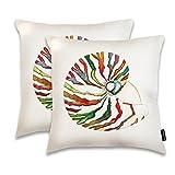 JUNHOMEDEC Ocean Park Decorative Pillow Case Conch Throw Pillow Cover Shell for Couch Sofa Home Decor, With Hidden Zipper Set of 2,White