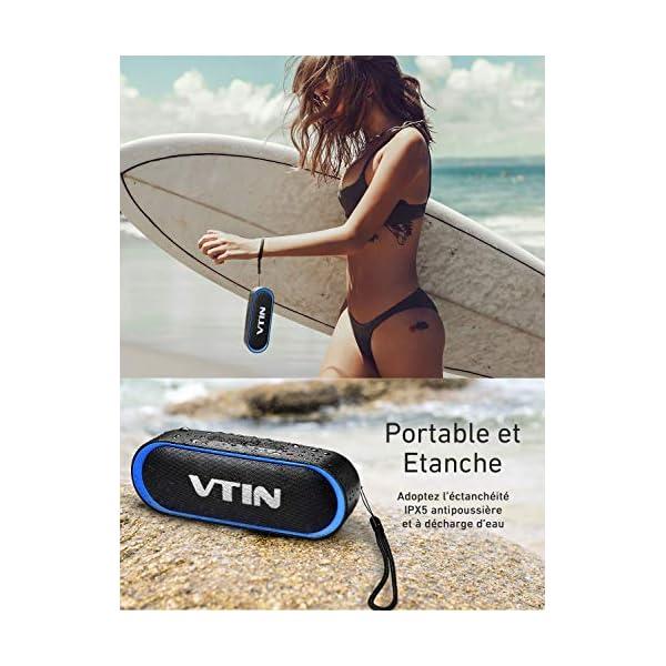 Enceinte Portable Bluetooth 5.0, VTIN R4 Haut Parleur Bluetooth 12W, Enciente Waterproof, 24H de Lecture, avec Microphone, Support AUX/TF, pour Téléphone Portable, Tablette, Soirée, Voyage 5