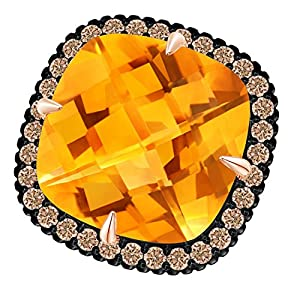 Angara Claw-Set Cushion Citrine Halo Ring with Filigree fXEIm
