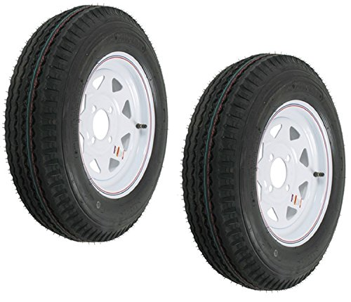 eCustomRim 2-Pack Trailer Tires On White Rims 530-12 5.30-12 5.30 x 12 Load C 4 - 4 Wheels Lug Rims