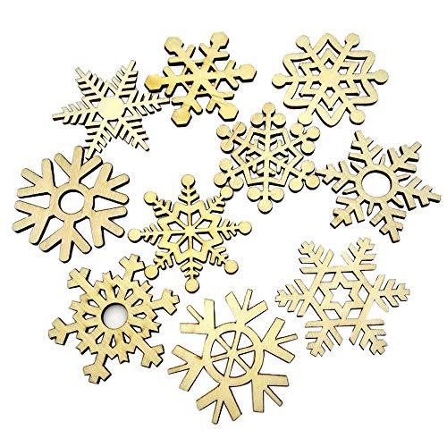 Ximandi Clearance,10PCS Assorted Wooden Snowflake Xmas Tree Hanging Ornament Decor (Gold)