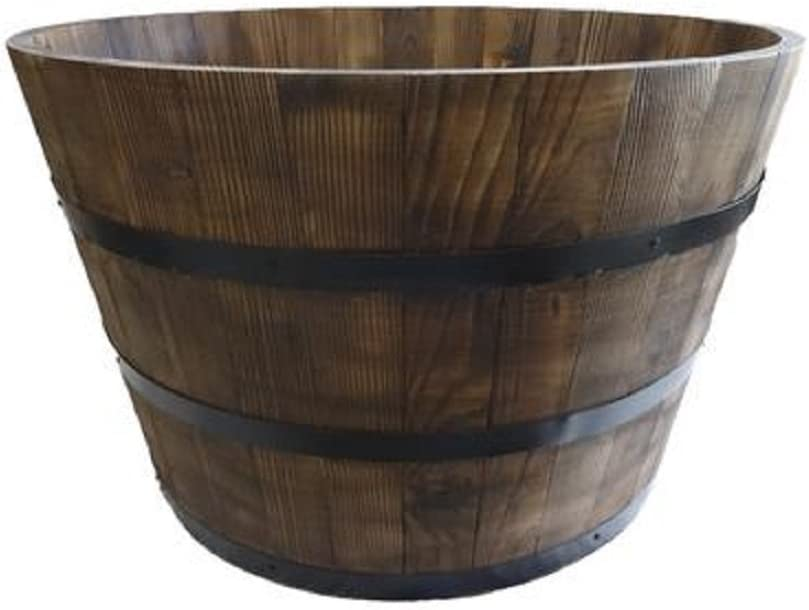 Banded Wooden Round Half Whiskey Barrel Planter, with Drainage Hole, Large Size, Natural, 25