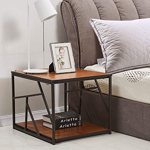 VECELO Modern End Table, Wooden Side Table/Coffee Tea Table with Black Metal Frame (24in)