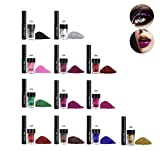 12 Colors Eye Shadows Long-Lasting Highly Pigmented Glitter Shining Powder & Glue Kit Makeup Tools for Women(12 Color/Set)