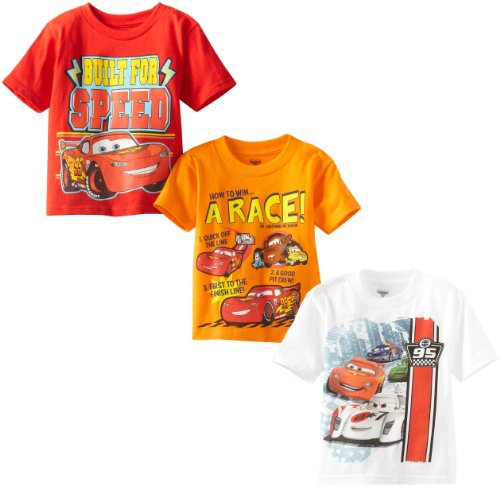 Disney Little Boys' Toddler Cars 3 Pack T-Shirt, Multi, 4T]()
