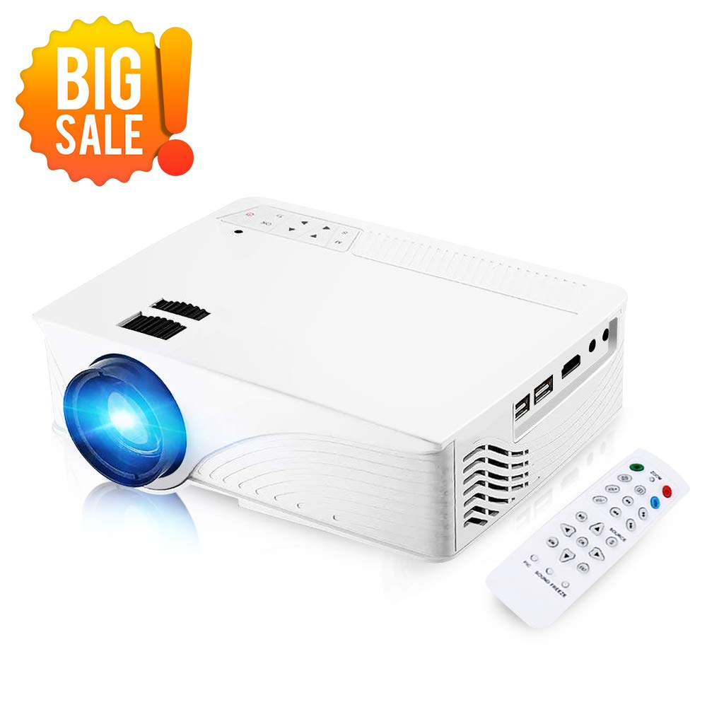 Mini Projector, [2018 Upgraded ] GBTIGER 2000 Lumens Mini LED Projector Full HD 1080P Support for Home Theater Entertainment Movie Game Video Projector Compatible with Fire TV Stick, PS4, Xbox(White)